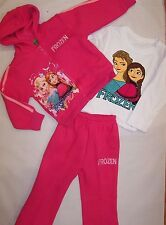 BNWT FROZEN HOT PINK COTTON 3 PIECE TRACKSUITS WITH LONG SLEEVE TOP SIZE 2-6