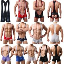 Men Jockstrap Boxer Brief Wrestling Singlet One-Piece Bodysuit Leotard Underwear