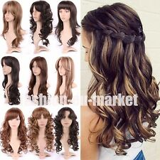 Sexy Ladies Hair Long Natural Cosplay Full Wigs Wave Curly Straight Hair Wigs M