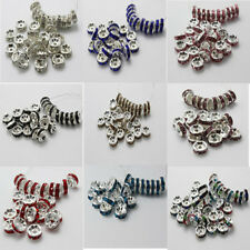 100x Czech Crystal Rhinestone Silver Rondelle Spacer Beads 6mm 8mm Handmade Art