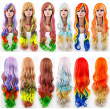 80CM Wavy Curly Long Ombre Hair Rainbow Heat Resistant Cosplay Lolita Wig Anime