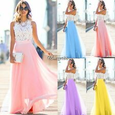 New Sexy Women Cap Sleeve Maxi Dress Floral Hollow Patchwork Party Slim UTAR01