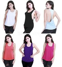 Womens Sports T-Back Vest Fitness Exercise Gym Yoga Tank Tops Singlet Loose Tops