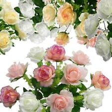 18 inch Rose Bush Bouquet with 12 flowers, Artificial Plant Silk Wedding Roses