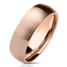 Dome ring made of stainless steel in rosé-gold matt and polished different sizes