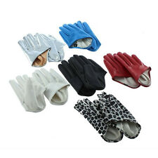 1 Pair Women Cool Five Finger Half Palm Faux Leather Soft Gloves Mittens Cheaply