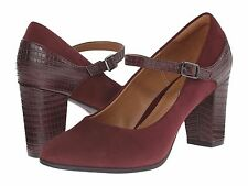 BRAND NEW CLARKS BAVETTE CATHY MARY JANES PUMP SHOES BURGUNDY COMBI SIZE 7.5