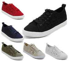 NEW WOMENS LADIES SIDE LACE UP LACEY CROCHET PUMPS TRAINERS SNEAKERS SKATER SIZE