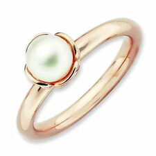 White Cultured Freshwater Pearl 18K Rose Gold Plated Stackable Ring