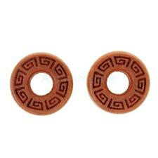 Pair Hollow Wood Solid Double Flared Ear Plugs Tunnels Expander Gauges Piercing