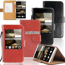 window view Flip Leather Wallet Stand Cover Case For Huawei Ascend SmartPhones