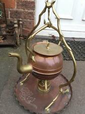 Vintage brass and copper spirit kettle on stand