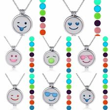 Emoji Glowing Lockets Perfume Oils Essential Aromatherapy Diffuser Necklace New