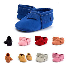 Kids Boy Girl Baby Unisex Infant Toddler Tassel Sole Round Toe Prewalker Shoes