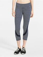 calvin klein womens performance striped mesh cropped leggings