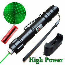 5MW 532nm Green Laser Pointer Pen Focus Visible Beam+Star Cap+Battery+Charger LN