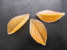 35mm 15/30pcs ORANGE FROSTED ACRYLIC PLASTIC LEAF BEADS CHARMS TZ1260