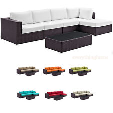 BROWN ALL-WEATHER RATTAN WICKER OUTDOOR PATIO SECTIONAL SOFA SET W/ COFFEE TABLE
