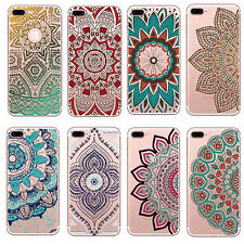 1Pcs Mandala Floral Silicone Clear Colorful Henna Case Soft Hot Cover For iPhone