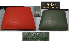 POLO RALPH LAUREN Men's Pebbled Leather Passcase ID dual Bifold Wallet, NIB