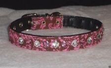 Deluxe Rhinestone Dog Collar pink & clear crystal jewels Bling! chocolate damask