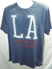 LA -COME FOR THE TACOS- STAY FOREVER -T-SHIRT  BLUE HEATHER -LOS ANGELES