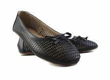 GROSBY TILLY BLACK WOMENS BALLET FLATS WORK CASUAL FLAT SHOES LASER CUT BOW