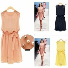Womens Chiffon Handmade Bead Shoulder Bow Belt Sleeveless  Summer Beach Dress