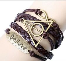 Fashion Lady Retro Triangle & Believe knit Rope Bracelet Dark coffee
