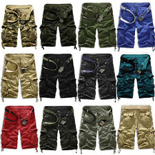 Men's Casual Army Combat Camo Work Hiking Cargo Shorts Pants Trousers 3/4 Cotton