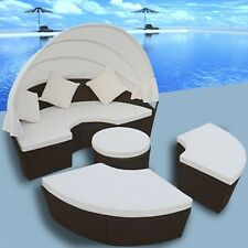 Rattan Outdoor Patio Furniture Set Brown Round Sofa Sectional Daybed Cushion Bed