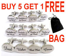 Personalised Mens Wedding Cufflinks Oval Shiny Silver PAIR Groom Best Man Usher