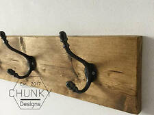 Hand Made In The UK Solid Wood Coat Rack Reclaimed Vintage Cast Iron Coat Hooks