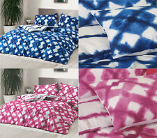 Tie Dyed Blue Pink Duvet Cover Bedding Quilt Set + Pillowcase Single Double King