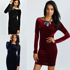Womens Lady Cocktail Party Bodycon Crushed Velvet Long Sleeve Midi Romper Dress