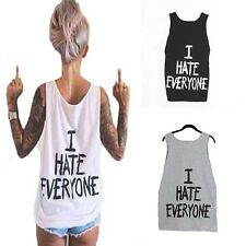 Low Collar 4 Yards Round Neck 3 Colors Sleeveless Loose Cotton Letters Printed
