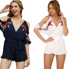 Women jumpsuit V neck Embroidery ruffle Romper Sexy Vintage Summer 2017 Flower
