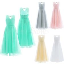 Flower Girl Dress Bridesmaid Wedding Party Mesh Long Maxi Dress Graduation Gown