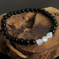 Mens Womens 6mm Matte Black Onyx Glowing Moonstone Bracelet Sterling Silver 1043