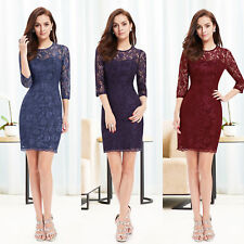 Ever-Pretty Women's Lace 3/4 Sleeve Short Mini Lady Party Dress Cocktail 03792