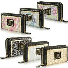 New Ladies Womens LYDC Lace Glitter & Croc Trim Zip Hand Purse Clutch Bag Wallet