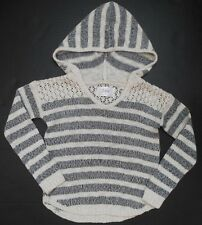 NEW Justice ivory grey striped hoodie sweater long sleeve girls size 5 NWT