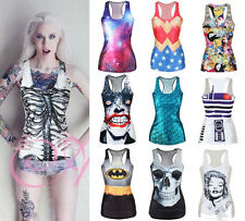 Stylish Women's Digital Print Blouse T Shirt Gothic Punk Tops Vest Tank Clubwear