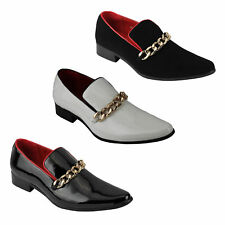 Mens New Gold Chain Shiny Patent, Suede Leather Black White Slip on Loafer Shoes