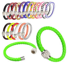 Leather Wrap Wristband Cuff Punk Magnetic Rhinestone Buckle Bracelet Bangle New