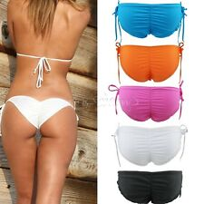 Women's Sexy Brazilian Bikini Bottom Swimwear Beach Ruffles Back Briefs Panties