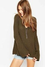 Ex-ASOS Oversized Khaki Knitted Jumper with Bell Sleeves (Sizes 4 - 12) RRP £35