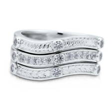 BERRICLE Sterling Silver Cubic Zirconia CZ Wave Fashion Stackable Ring Set