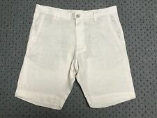 Brand New Mens Zara Ivory Linen Shorts With Pockets And Belt Loops Size 30 to 36