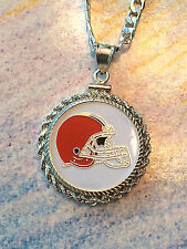 STERLING SILVER ROPE PENDANT W/ NFL CLEVELAND BROWNS a SETTING JEWELRY GIFT